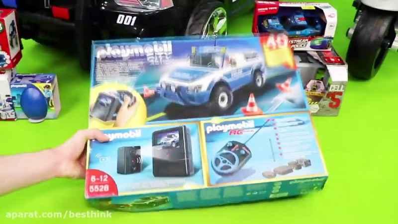 بازی با اسباب بازیهای ماشین پلیس و انواع ماشین ها و ماشین های ساخت و ساز