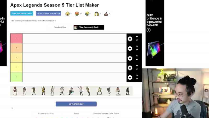 The LEGENDS Tier List for Season 5 of Apex Legendsلیست بلند LEGENDS برای فصل 5 A