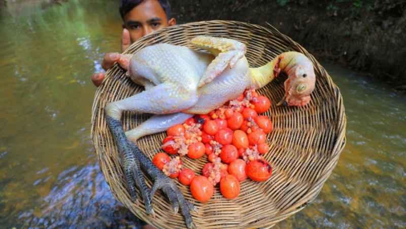 شکار مرغ و پختن آن در کنار رودخانه | (تکنیک زندگی 197)