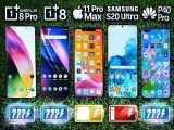 مقایسه سرعت تخلیه شارژ OnePlus 8 / 8 Pro vs iPhone 11 Pro Max / S20 Ultra / Huawei P40 Pro